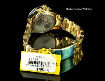 Invicta 19818 women's 38mm Grand Diver Gen II Quartz Blue Dial Gold Tone Bracelet Watch