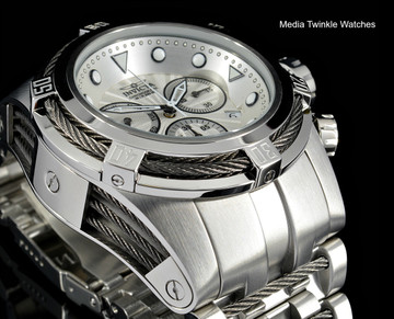 Invicta Bolt Zeus Swiss Quartz Chronograph Silver Dial Stainless Steel Bracelet Watch 23909