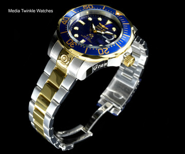 Invicta 3049 Grand Diver 47mm AUTOMATIC Blue Dial Gold Tone Silver Bracelet Watch