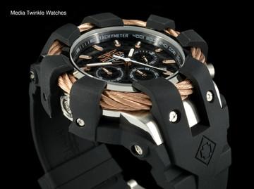 Invicta 50mm Bolt Sport Black Carbon Dial Rose Tone Bezel Silicone Strap Watch 23859