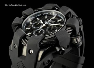 Invicta 50mm Bolt Sport Black Carbon Black Bezel Silicone Strap Watch 23864