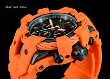 Invicta 50mm Bolt Sport Black Carbon Dial Orange Silicone Strap Watch 23872