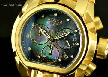 Invicta 52mm Reserve Bolt Zeus MAGNUM Swiss Quartz Black MOP Gold Tone Dual Movt Bracelet Watch 26706
