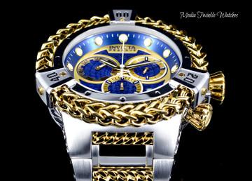 Invicta 52mm Reserve Bolt Hercules Blue Dial Two Tone Quartz Chronograph Watch 30543