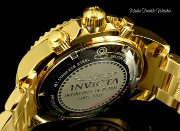 Invicta 47mm Grand Diver Quartz Chronograph 1.94ctw Diamond Dial All Gold Bracelet Watch