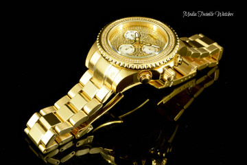 Invicta 47mm Grand Diver Quartz Chronograph 1.94ctw Diamond Dial All Gold Bracelet Watch