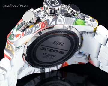 Invicta 52mm Bolt Zeus Quartz Chronograph Gray Dial GRAFFITI HYDROPLATED Bracelet Watch