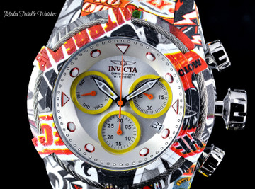 Invicta 52mm Bolt Zeus Quartz Chronograph Silver Dial GRAFFITI HYDROPLATED Bracelet Watch
