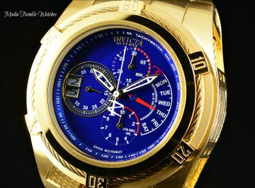 Invicta 26389 Reserve 53mm Bolt Zeus Tria Blue Dial Gold Tone Swiss Quartz Chronograph GMT Stainless Steel Bracelet Watch