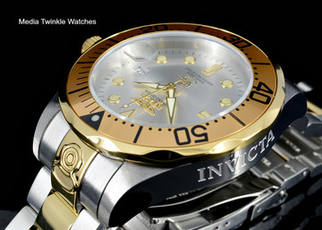 Invicta 3050 Grand Diver 47mm AUTOMATIC Silver Dial Gold Tone Silver Bracelet Watch