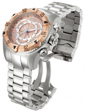 Invicta 11000 Reserve Men's Excursion Rose Tone Dial Swiss Quartz Chronograph Bracelet Watch | Free Shipping