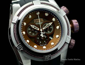 Invicta 0830 Reserve Bolt Zeus Swiss Made Quartz Chronograph Brown Mother-of-Pearl Dial Polyurethane Strap Watch (Zeus)   Free Shipping
