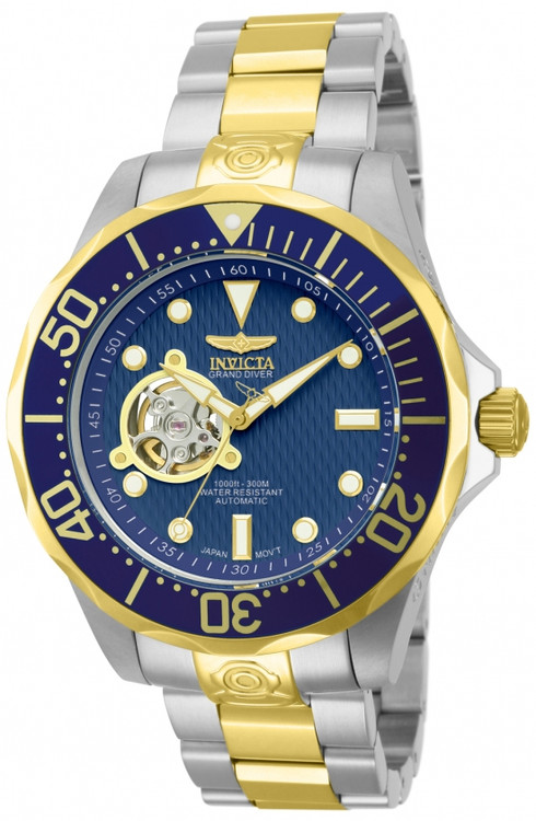 "Invicta 13706 Grand Diver Automatic Blue Dial Gold Plated Case ""Open Heart"" Stainless Steel Bracelet Watch 