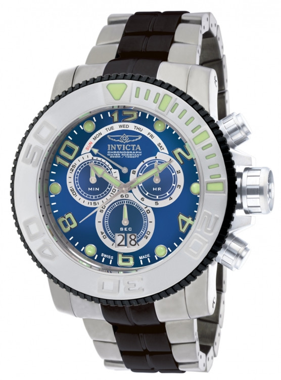 Invicta 10767 Men's Pro Diver Collection Sea Hunter Blue Dial Chronograph Stainless Steel Watch | Free Shipping