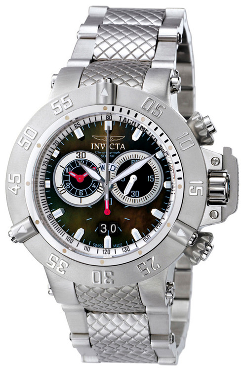 invicta 4574 Mens Subaqua Noma III Swiss Made Chronograph Stainless Steel Black M.O.P Dial Watch | Free Shipping