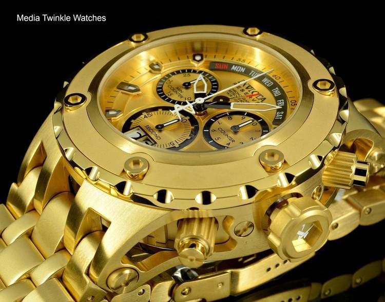 Invicta 1568 Reserve Men's Specialty Subaqua Swiss Quartz Gold Tone Chronograph Bracelet Watch | Free Shipping