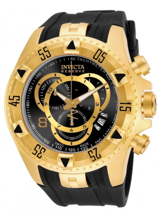 Invicta 80639 Reserve Excursion Swiss Made Chronograph Gold Tone Black Dial Polyurethane Strap Watch | Free Shipping