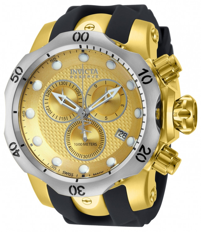 Invicta 16151 Reserve 52mm Venom Swiss Chronograph Gold Tone w/Silver Bezel Polyurethane Strap Watch   Free Shipping
