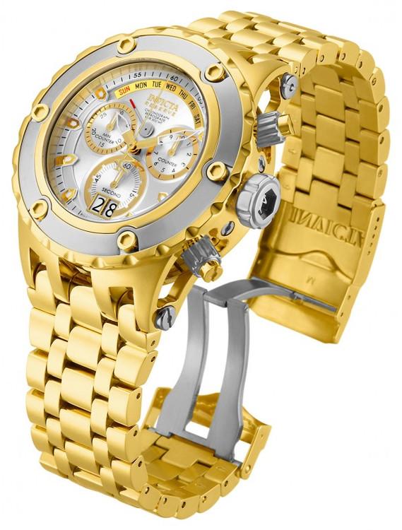 Invicta 80486 Reserve Men's Specialty Subaqua Silver Dial Gold Tone Swiss Quartz Chronograph Bracelet Watch | Free Shipping