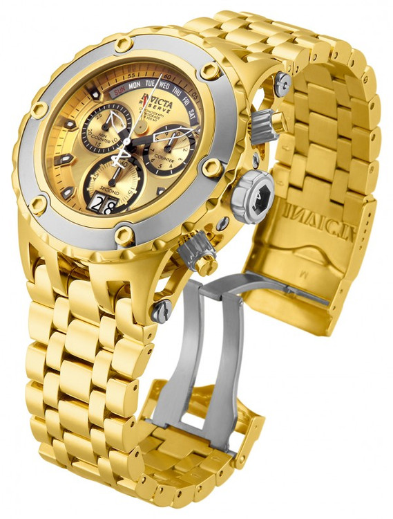 Invicta 80489 Reserve Men's Specialty Subaqua Gold Dial Silver Bezel Swiss Quartz Chronograph Bracelet Watch | Free Shipping
