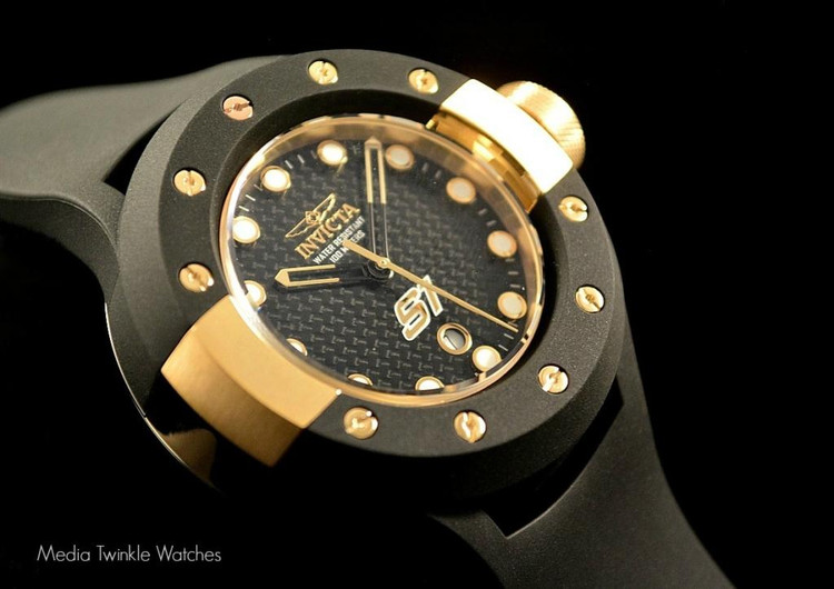 Invicta 1943 S1 Carbon Fiber 52mm Gold Tone Black Polyurethane Strap Watch   Free Shipping