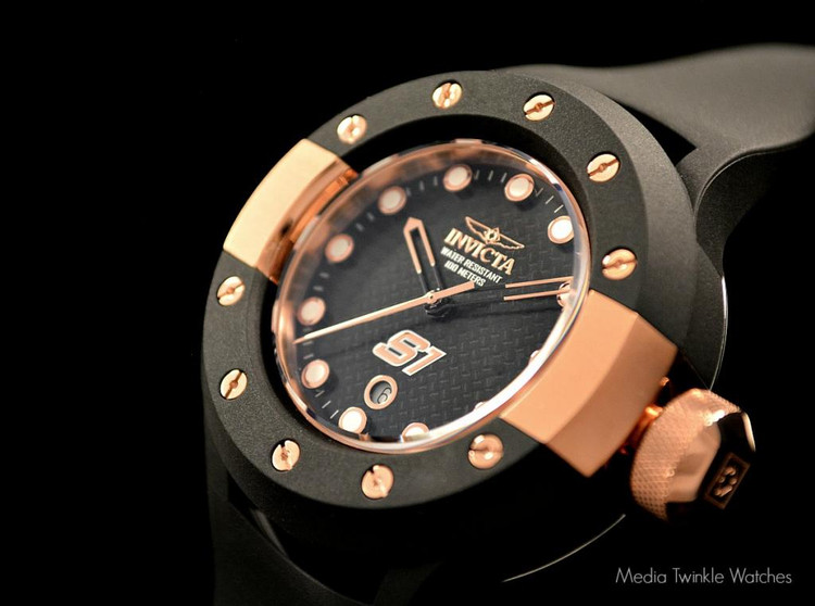 Invicta 1944 S1 Carbon Fiber 52mm Rose Gold Tone Black Polyurethane Strap Watch   Free Shipping
