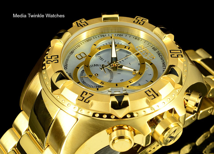 Invicta 80626 Reserve Excursion Swiss Quartz Chronograph Platinum MOP Dial Gold Plated Stainless Steel Watch | Free Shipping