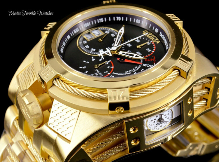 Invicta 16956 Reserve 53mm Bolt Zeus Tria Gold Tone Swiss Quartz Chronograph GMT Stainless Steel Bracelet Watch | Free Shipping