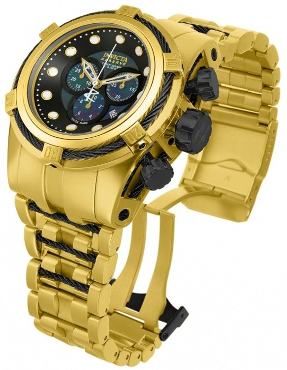 Invicta 12737 Reserve Bolt Zeus Swiss Made Chronograph Black MOP Dial Gold Tone Stainless Steel Watch | Free Shipping