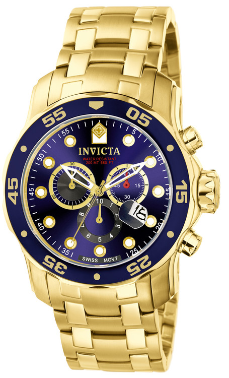 Invicta 0073 Pro Diver Scuba Quartz Chronograph Blue Dial Stainless Steel Bracelet Watch | Free Shipping