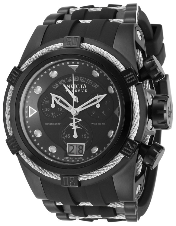 Invicta 12298 Reserve Bolt Zeus Quartz Chronograph Black Dial Silver Bezel Watch | Free Shipping