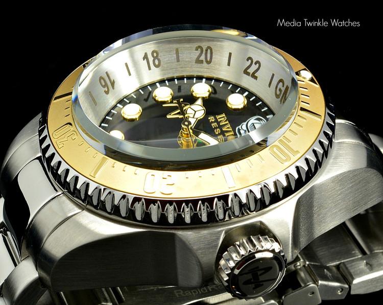 Invicta 16960 Reserve 52mm Hydromax Black Dial Gold Tone Bezel Quartz GMT Bracelet Watch | Free Shipping
