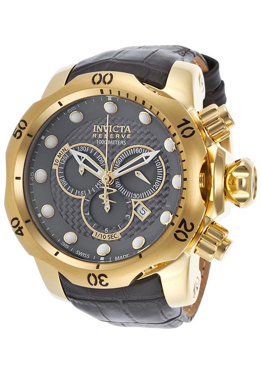 Invicta 15464 Reserve 52mm Venom Swiss Chronograph 5040D Black Carbon Fiber Dial Leather Strap Watch   Free Shipping
