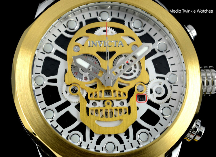 "Invicta 18864 ""Skull"" 50mm Corduba Collection Quartz Chronograph Gold Tone Dial Bracelet Watch 