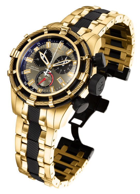 Invicta 5630 Reserve 50mm Bolt Swiss Quartz Chronograph Gold Tone & Black Stainless Steel Watch | Free Shipping