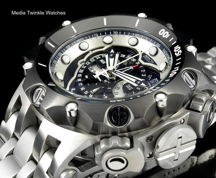 Invicta 16809 Reserve VENOM Hybrid Silver Tone Black Bezel 5040F Swiss Quartz Chronograph Bracelet Watch | Free Shipping