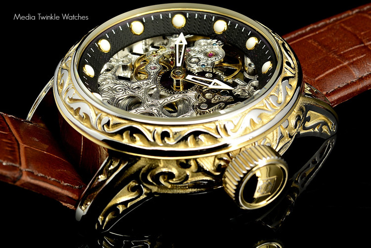 Invicta 18602 Excalibur 52mm Vintage Gold Bezel Silver Mechanical Black Leather Watch | Free Shipping
