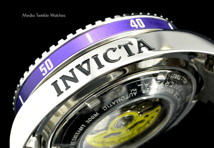 Invicta 19801 Grand Diver 2 Gen II 47mm Automatic Charcoal Dial Purple Bezel Stainless Steel Bracelet Watch   Free Shipping