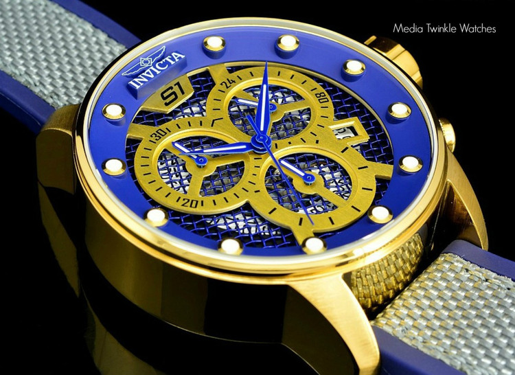 Invicta 19626 S1 Rally 48mm Quartz Chronograph Blue & Gold Tone Twisted Metal Poly Strap   Free Shipping