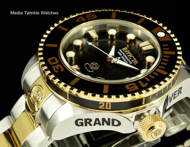 Invicta 19803 Grand Diver 2 Gen II 47mm Automatic Two-Tone Gold Black Dial  Bezel Stainless Steel Bracelet Watch   Free Shipping
