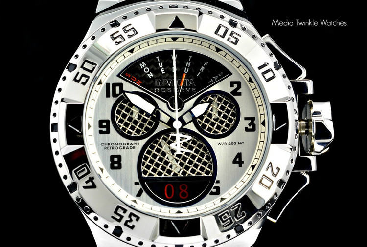 """Invicta 17468 Reserve Mens Excursion Swiss Quartz 8040.N """"Twisted Metal"""" Silver Bracelet Watch   Free Shipping"""