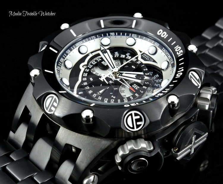 Invicta 20421 Reserve 52MM VENOM Hybrid Black Dial 5040F Swiss Quartz Chronograph Black Bracelet Watch | Free Shipping