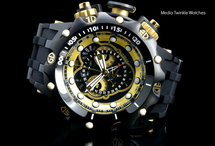 Invicta 20430 Reserve 52MM VENOM Hybrid Black & Gold Tone 5040F Swiss Quartz  w/Black POLYURETHANE Watch | Free Shipping