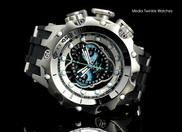 Invicta 20422 Reserve 52MM VENOM Hybrid Black Dal w/Silver 5040F Swiss Quartz  w/Black POLYURETHANE Watch | Free Shipping