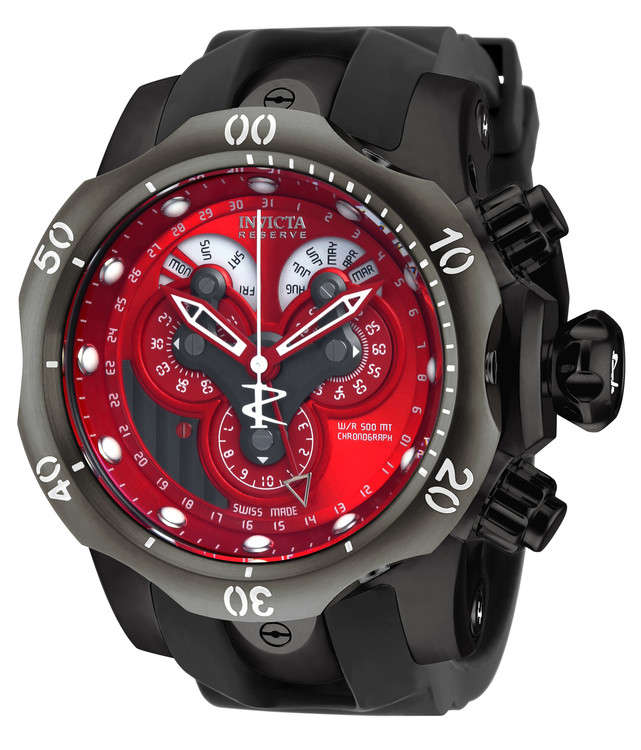 Invicta 18537 Reserve 53mm Venom Swiss Chronograph 5040F Red Dial Black Polyurethane Strap Watch | Free Shipping