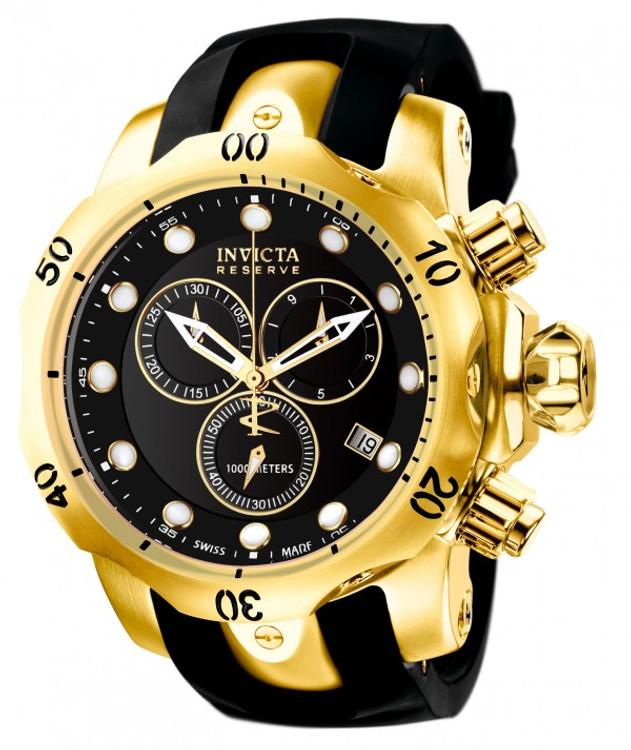 Invicta 6112 Reserve 52mm Venom Swiss Made Quartz Chronograph Black Dial Gold Tone Polyurethane Strap Watch | Fre SHipping