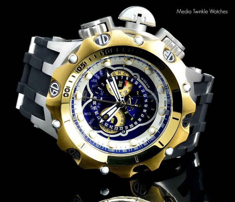 Invicta 20429 Reserve 52MM VENOM Hybrid Blue Dial Gold Tone Bezel 5040F Swiss Quartz POLYURETHANE Watch | Free Shipping