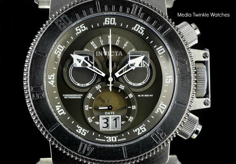 Invicta 17646 Coalition Forces 51mm Swiss Made Quartz Chronograph Gunmetal Dial Stone Finish Bezel Bracelet Watch I Free Shipping