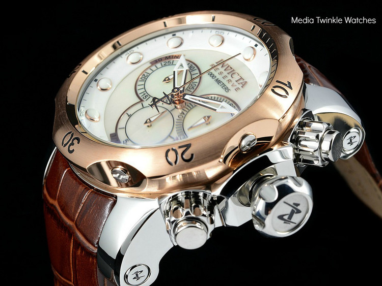 Invicta 80694 Venom 52MM Reserve Silver M.O.P Dial BROWN Leather Strap Watch | Free Shipping