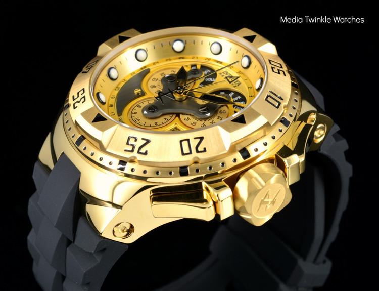 Invicta 18557 Reserve Excursion Master Calendar 5040F Quartz 18k Gold Tone Dial Watch